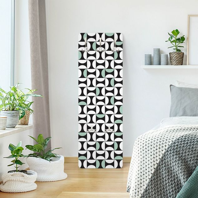 Garderobe - Geometrische Fliesenbögen Mintgrün mit Bordüre