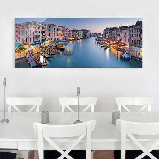 Glasbild - Abendstimmung auf Canal Grande in Venedig - Panorama Quer