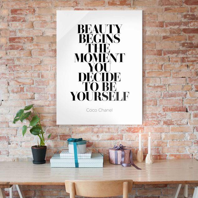 Glasbild - Be yourself Coco Chanel - Hochformat 4:3