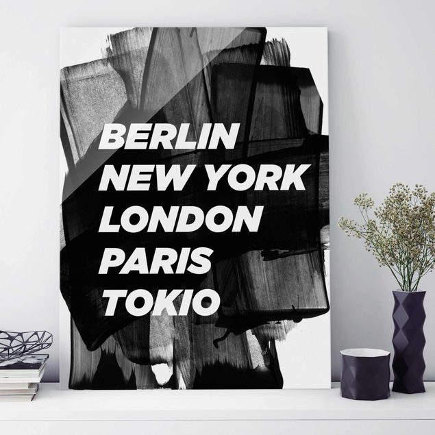 Glasbild - Berlin New York London - Hochformat 4:3