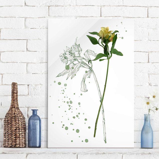 Glasbild - Botanisches Aquarell - Lilie - Hochformat 3:2
