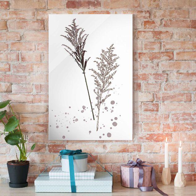 Glasbild - Botanisches Aquarell - Schwingelschilf - Hochformat 3:2