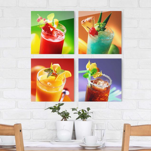 Glasbild - Bunte Cocktails 4-teilig