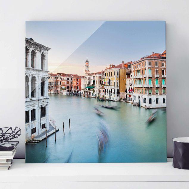 Glasbild - Canale Grande Blick von der Rialtobrücke Venedig - Quadrat 1:1
