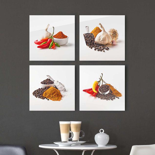 Glasbild - Chili Knoblauch und Gewürz - Sets 4-teilig