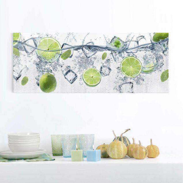 Glasbild - Erfrischende Limette - Panorama Quer