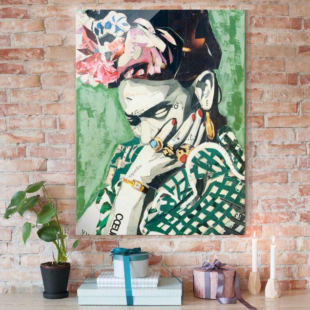 Glasbild - Frida Kahlo - Collage No.3 - Hochformat 3:4