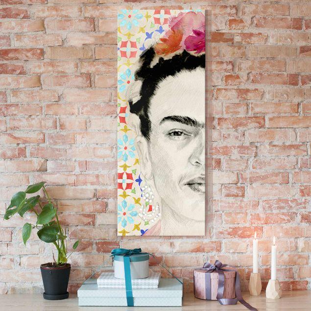 Glasbild - Frida mit rosa Blüten II - Panel