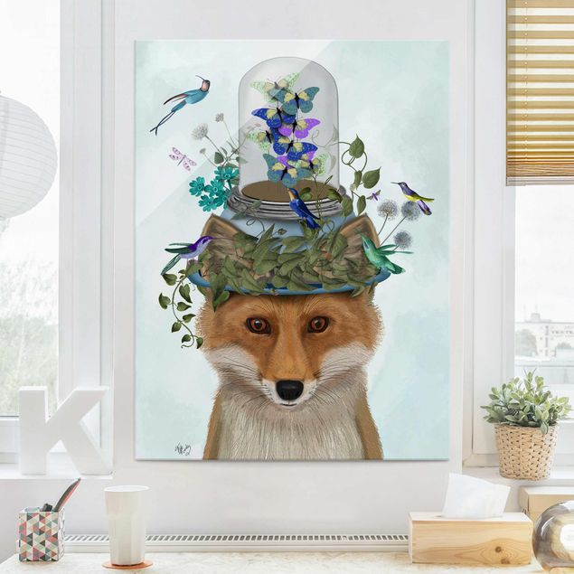 Glasbild - Fuchs mit Schmetterlingshut - Hochformat 4:3
