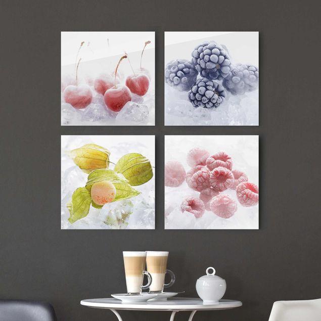 Glasbild - Gefrorene Früchte 4-teilig
