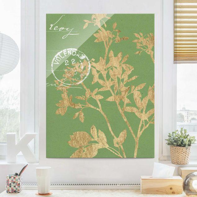 Glasbild - Goldene Blätter auf Lind II - Hochformat 4:3