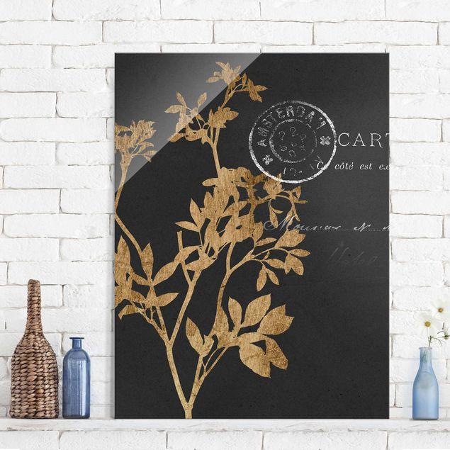 Glasbild - Goldene Blätter auf Mokka I - Hochformat 4:3