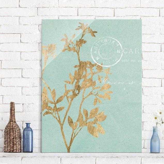 Glasbild - Goldene Blätter auf Turquoise I - Hochformat 4:3