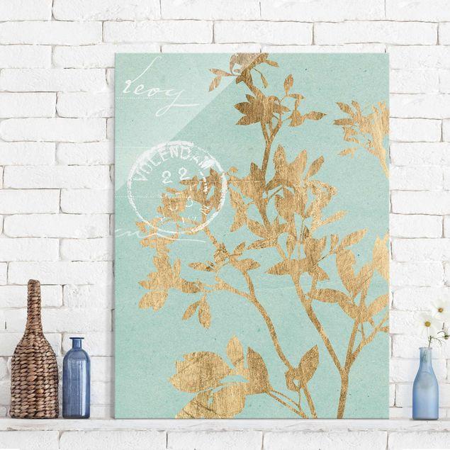 Glasbild - Goldene Blätter auf Turquoise II - Hochformat 4:3