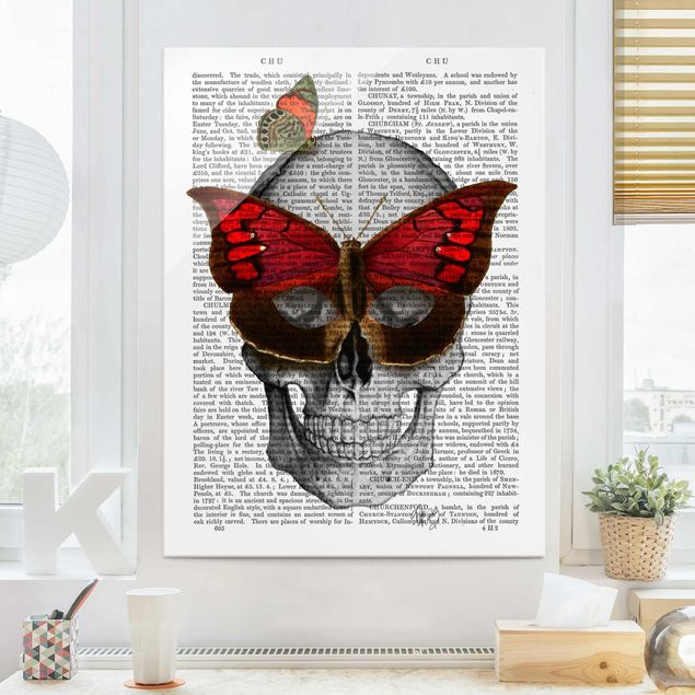 Glasbild - Grusellektüre - Schmetterlingsmaske - Hochformat 4:3