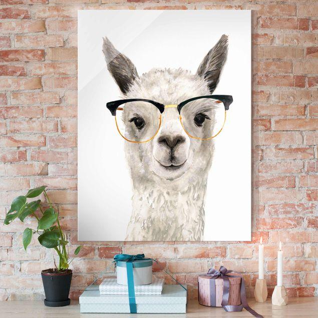 Glasbild - Hippes Lama mit Brille I - Hochformat 4:3