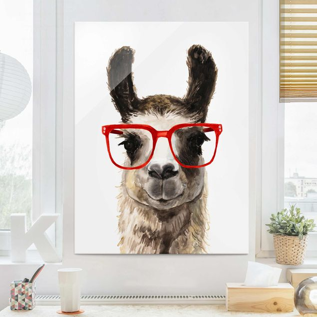Glasbild - Hippes Lama mit Brille II - Hochformat 4:3