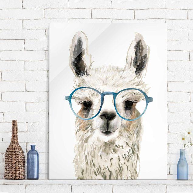 Glasbild - Hippes Lama mit Brille III - Hochformat 4:3