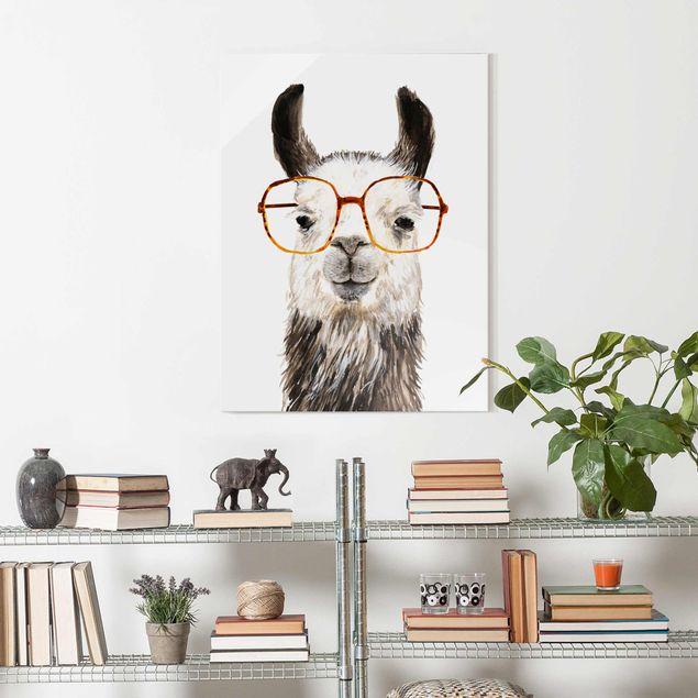Glasbild - Hippes Lama mit Brille IV - Hochformat 4:3