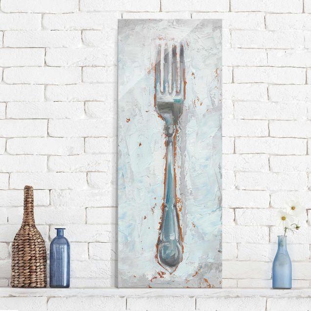 Glasbild - Impressionistisches Besteck - Gabel - Panel