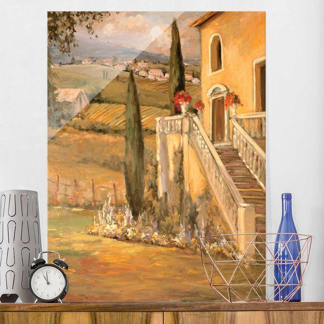 Glasbild - Italienische Landschaft - Haustreppe - Hochformat 4:3