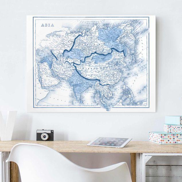 Glasbild - Karte in Blautönen - Asien - Querformat 3:4