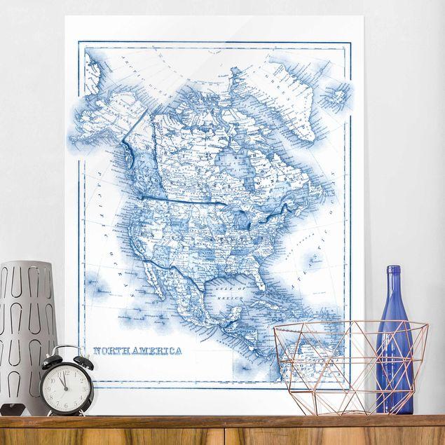 Glasbild - Karte in Blautönen - Nordamerika - Hochformat 4:3