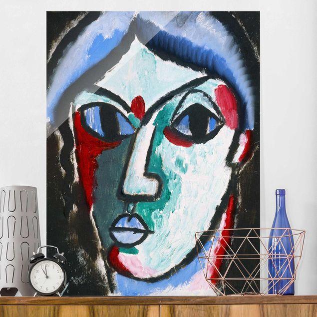 Glasbild - Kunstdruck Alexej von Jawlensky - Portrait eines Mannes - Hoch 3:4