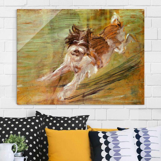 Glasbild - Kunstdruck Franz Marc - Springender Hund Schlick - Expressionismus Quer 4:3