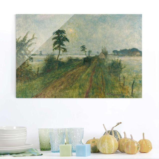 Glasbild - Kunstdruck Otto Modersohn - Abendstimmung im Moor - Quer 3:2
