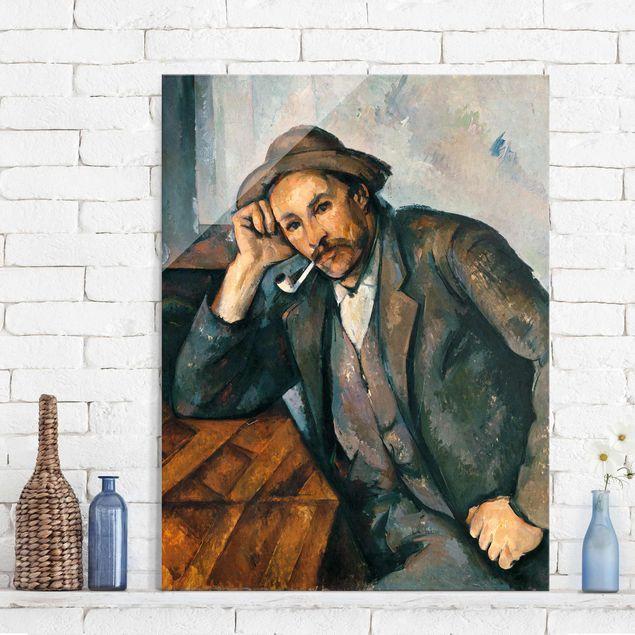 Glasbild - Kunstdruck Paul Cézanne - Der Raucher mit aufgestütztem Arm - Impressionismus Hoch 3:4