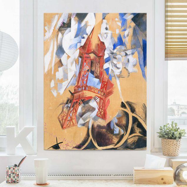 Glasbild - Kunstdruck Robert Delaunay - Der Eiffelturm - Hoch 3:4