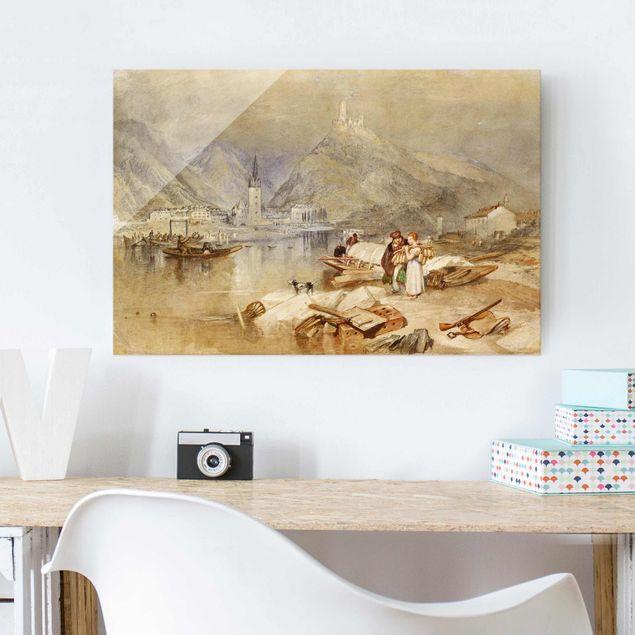 Glasbild - Kunstdruck William Turner - Bernkastel an der Mosel mit der Ruine der Burg Landshut - Romantik Quer 3:2