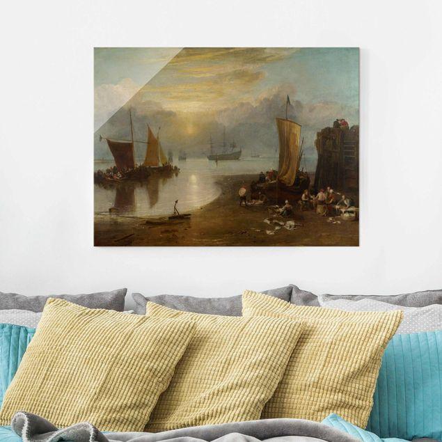 Glasbild - Kunstdruck William Turner - Sonnenaufgang im Dunst. Fischer beim Ausnehmen und Verkaufen von Fischen - Romantik Quer 4:3