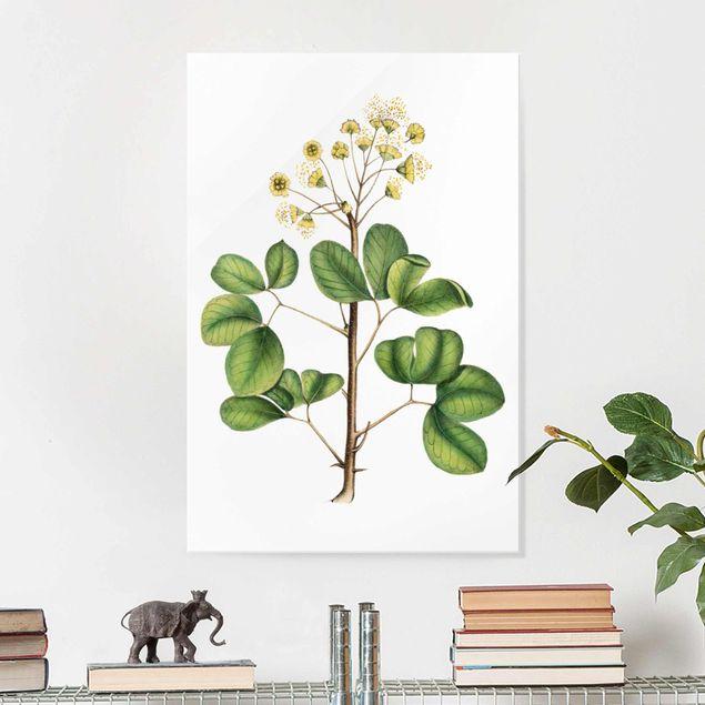 Glasbild - Laubwerk mit Blüten IV - Hochformat 3:2