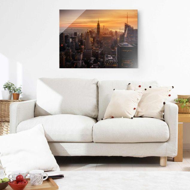 Glasbild - Manhattan Skyline Abendstimmung - Querformat 3:4