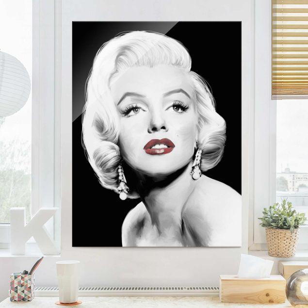 Glasbild - Marilyn mit Ohrschmuck - Hochformat 4:3