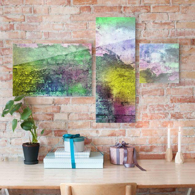 Glasbild mehrteilig - Bunte besprühte alte Wand aus Backstein 3-teilig