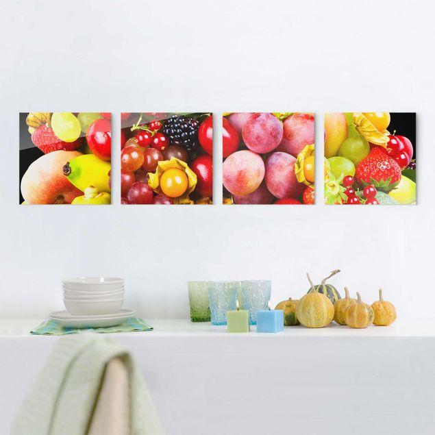 Glasbild mehrteilig - Colourful Exotic Fruits 4-teilig
