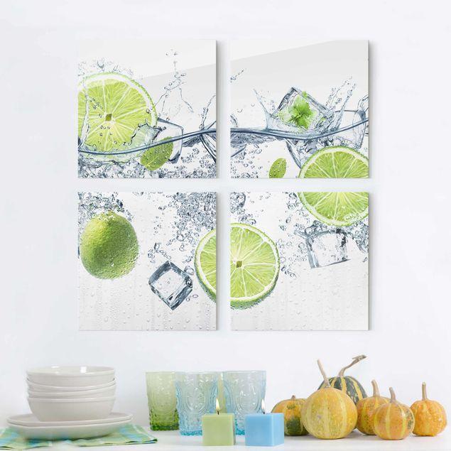 Glasbild mehrteilig - Erfrischende Limette 4-teilig