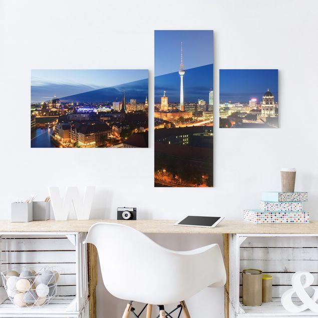 Glasbild mehrteilig - Fernsehturm bei Nacht Collage 3-teilig
