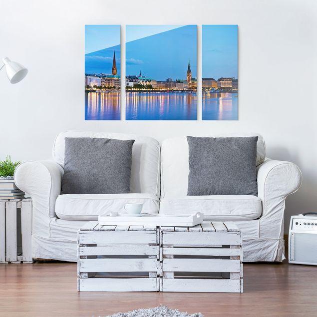 Glasbild mehrteilig - Hamburg Skyline 3-teilig