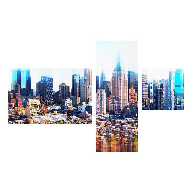Glasbild mehrteilig - Manhattan Skyline Urban Stretch 4-teilig