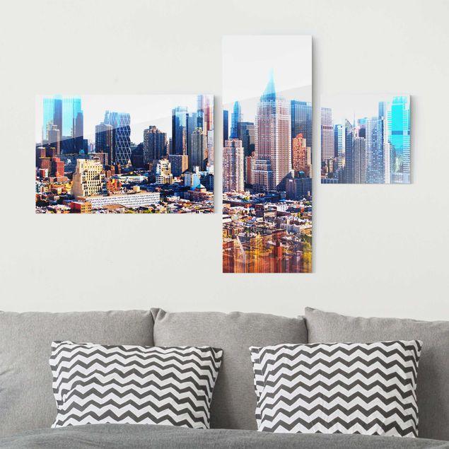 Glasbild mehrteilig - Manhattan Skyline Urban Stretch 3-teilig