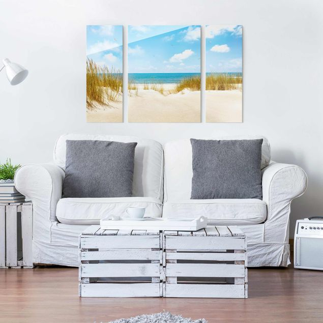 Glasbild Strand an der Nordsee mehrteilig - 3-teilig