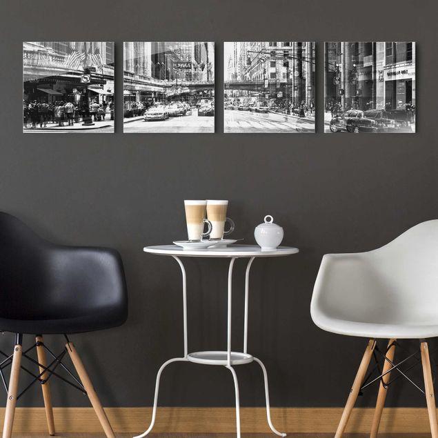 Glasbild mehrteilig - NYC Urban schwarz-weiss 4-teilig