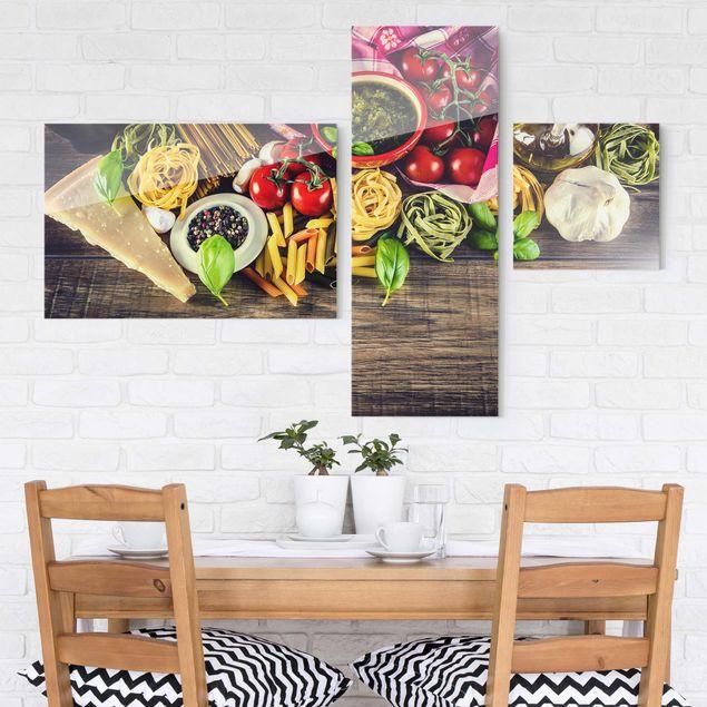 Glasbild mehrteilig - Pasta Collage 3-teilig