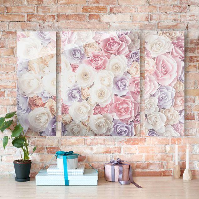 Glasbild mehrteilig - Pastell Paper Art Rosen 3-teilig