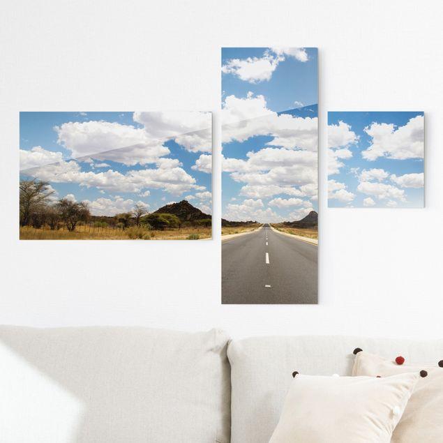 Glasbild mehrteilig - Route 66 Collage 3-teilig