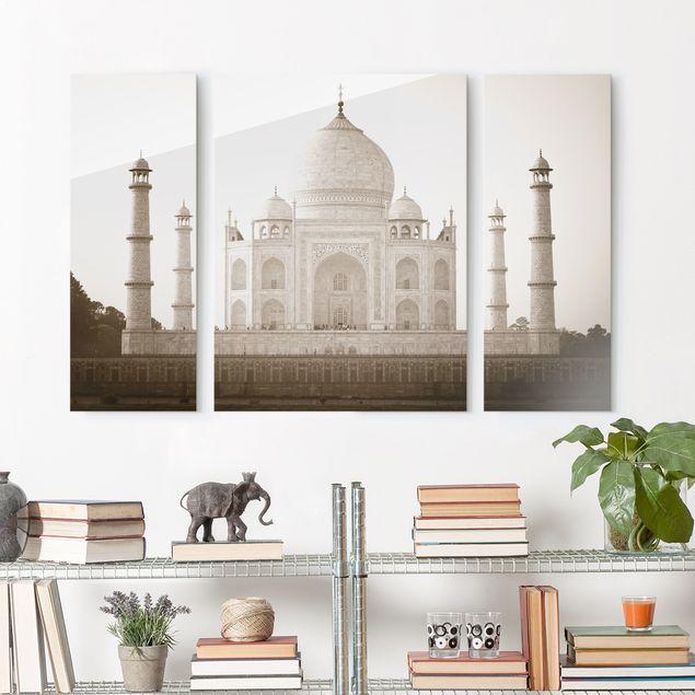 Glasbild mehrteilig - Taj Mahal 3-teilig